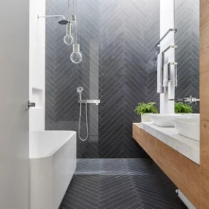 75 Popular Small Bathroom Design Ideas   Stylish Small Bathroom     Inspiration for a small contemporary master black tile and porcelain tile  porcelain floor and black floor