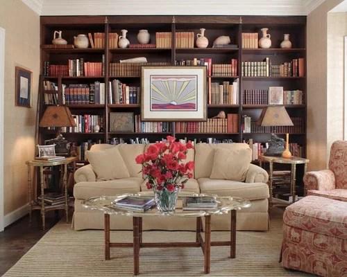 Bookshelves Behind Sofa