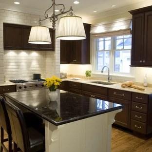 Dark Cabinets Light Island | Houzz on Backsplash Ideas For Black Granite Countertops And Cherry Cabinets  id=79144