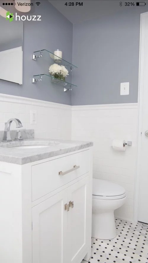 white subway tile and marble in bathroom