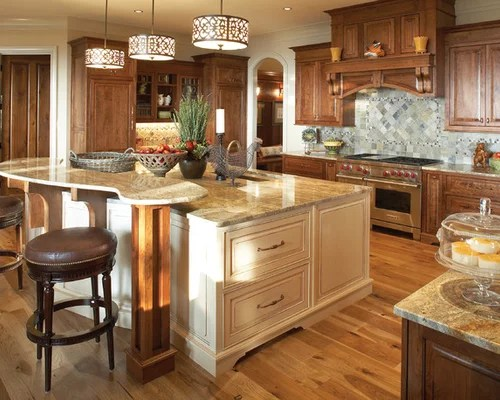 Stained Cabinets Painted Island Houzz