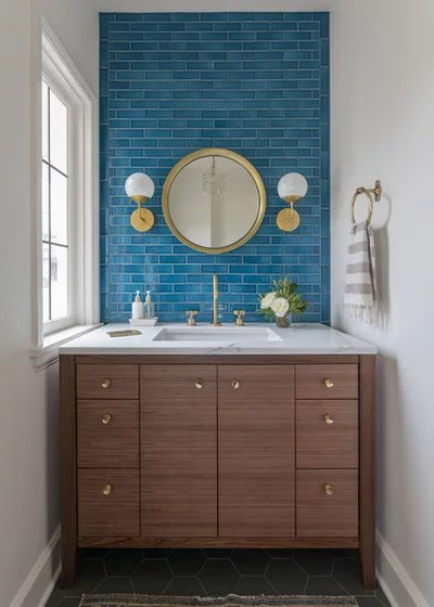 Transitional Powder Room Kitchen & Bath Remodel