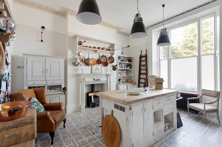 Kitchen design with Hoosier style cabinet at left