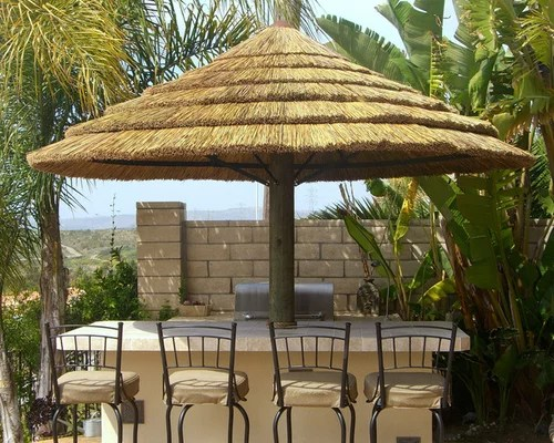 Thatched Roof Tiki Bar Home Design Ideas, Pictures ... on Backyard Bar With Roof id=99502