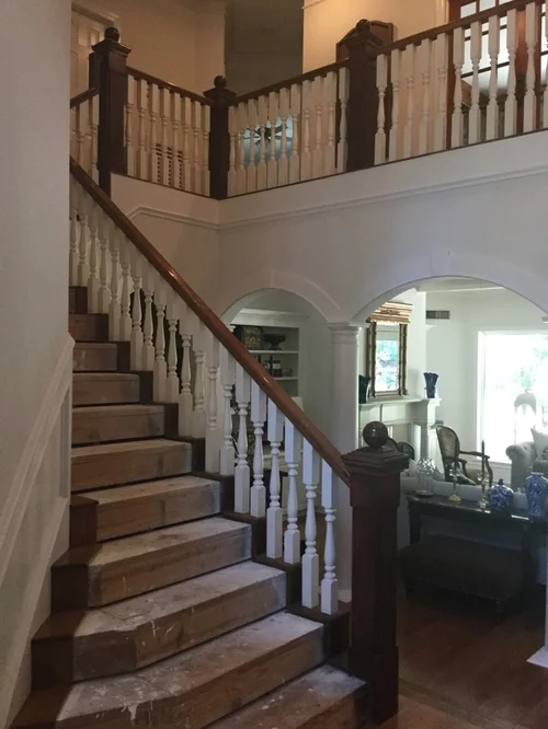 Stair Remodel Opinion White Wood Or Black Wrought Iron Spindles   White Banister With Iron Spindles   Foyer   Remodel   Basement   Stair Heavy   Madison