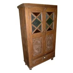Mogul interior - Consigned India Cabinet Carvings Wooden Armoire Beautiful Hand Made Furniture - You are buying an absolutely incredible antique wooden armories wardrobe.