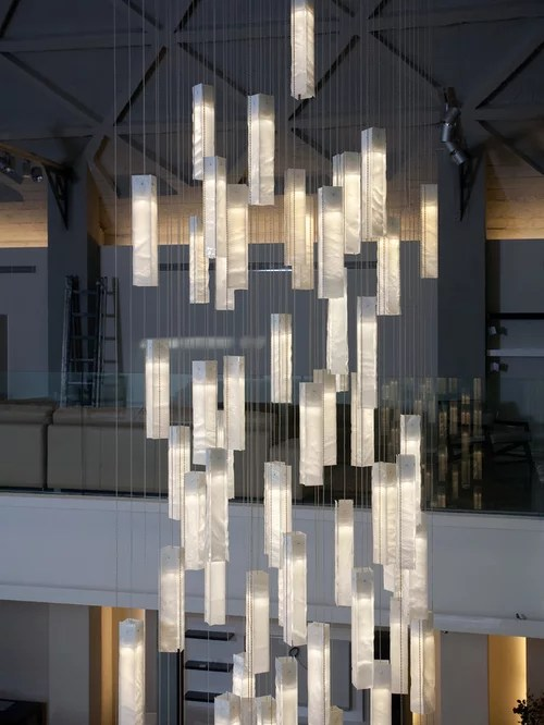 Modern Foyer Chandelier Entry Stairway Lights For High Ceiling Wh Pendant