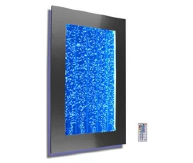 Wmb  Wall Mount Bubble Wall Led Indoor Fountain Water Feature Black Frame