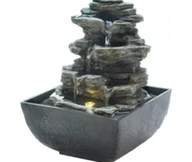 Cascading Fountains Tiered Rock Formation Tabletop Fountain Indoor Fountains