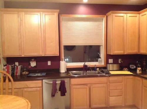 Backsplash for for light maple cabinets with dark brownish. on Backsplash For Maple Cabinets  id=83175
