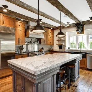 Farmhouse Kitchen Design Ideas   Remodeling Pictures   Houzz Farmhouse kitchen inspiration   Example of a country l shaped medium tone  wood floor and