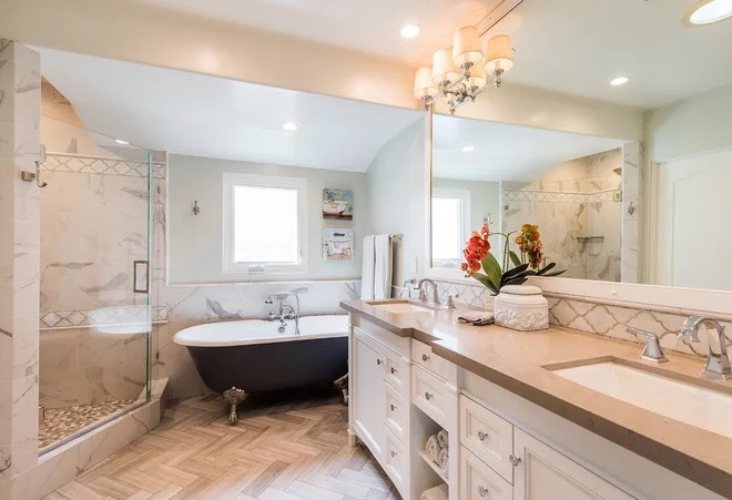 Traditional Bathroom by Red Door Living