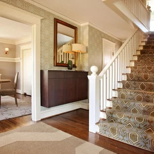 Patterned Carpet Stairs Houzz | Best Patterned Carpet For Stairs | Modern | Foyer | Vintage | Stair Triangular Landing | Well Fitted