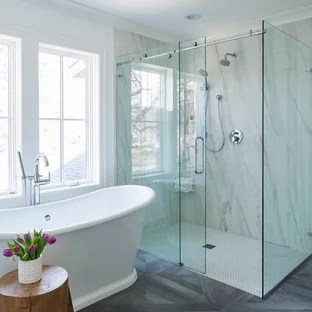 Frameless Barn Sliding Shower Door Houzz