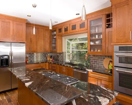 Cherry Cabinets Black Granite Home Design Ideas, Pictures ... on Backsplash Ideas For Black Granite Countertops And Cherry Cabinets  id=83175