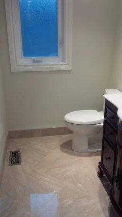 wood or tile baseboard in bathrooms