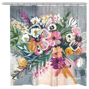 boho bouquet shower curtain