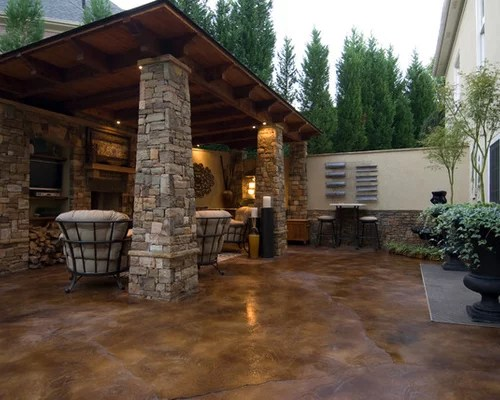 Stained Concrete Patio Home Design Ideas, Pictures ... on Concrete Slab Backyard Ideas id=47064