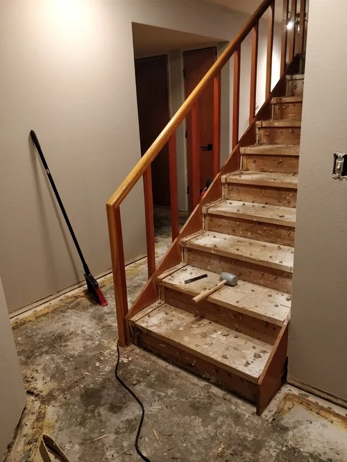 Replacing Carpet With Lvt Stairs Didn T Expect Such Sloppy Stairs   Stair Carpet Fitting Cost   Hardwood   Stair Treads   Laminate Flooring   Wood   Berber Carpet Runner