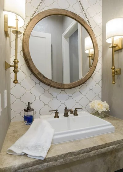 Transitional Powder Room by Craig Sharp Homes, Inc.