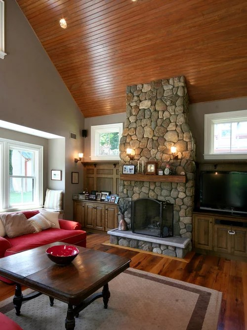 Best River Rock Fireplace Design Ideas Amp Remodel Pictures Houzz