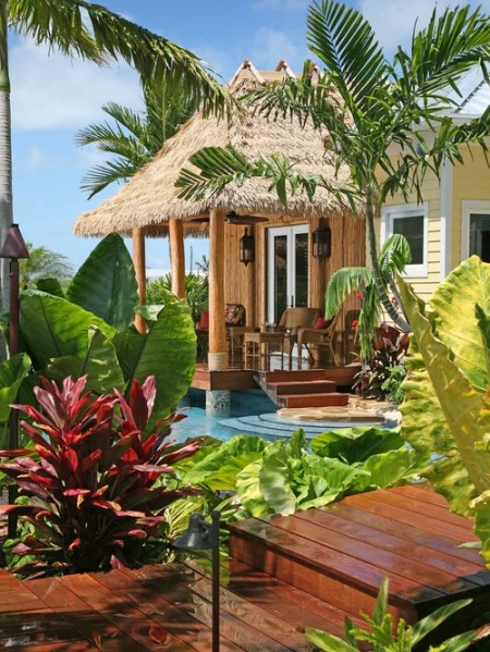 tropical outdoor patio Thatched Roof | Houzz