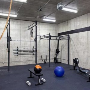 Most Popular Industrial Home Gym Remodeling Ideas   Houzz Example of an urban blue floor home weight room design in Minneapolis with  gray walls