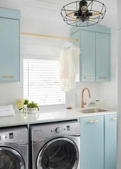 Transitional Laundry Room by Soda Pop Design Inc.
