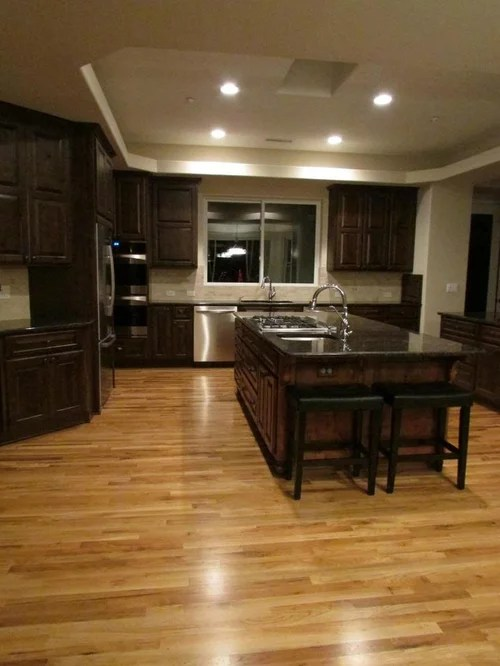 Finished Kitchen Tan Brown Granite With Dark Cabs