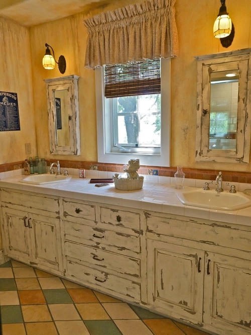 Distressed White Cabinets Houzz