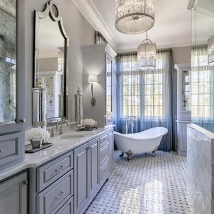 75 Traditional Bathroom Design Ideas   Stylish Traditional Bathroom     Large elegant master white tile and ceramic tile ceramic floor and gray  floor bathroom photo in