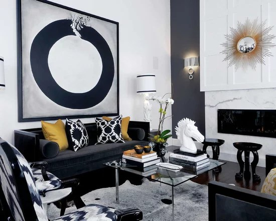 Black And White Gold Living Room Home Design Ideas