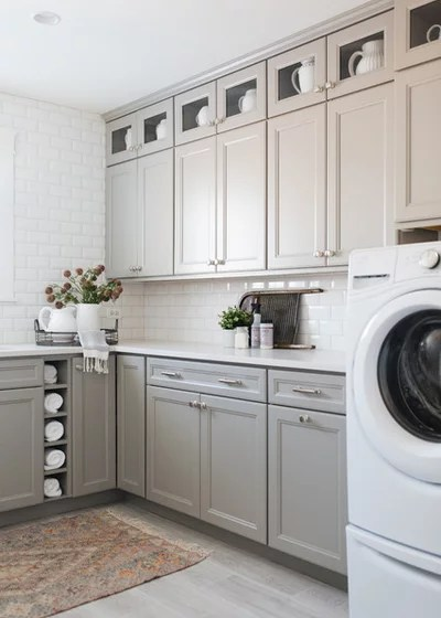 Transitional Laundry Room by Timber Trails Development Company