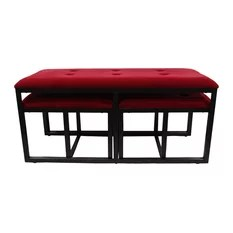 20.5 Tall Metal Storage Bench With 2 Additional Seating Black And Red Finish