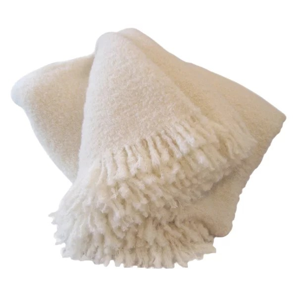 Wool, Angora Mohair Throw Blanket, A Beautiful Snow Throw, No Synthetics, White
