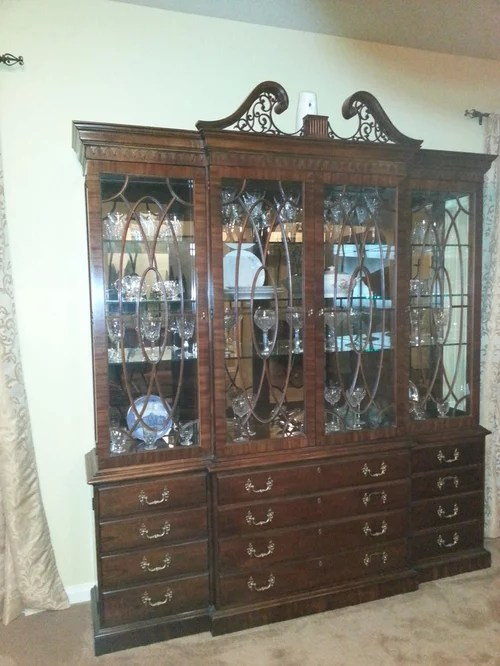 old fashioned china cabinet needs help
