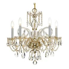 Crystorama Lighting Crystal 5 Lt Swarovski Strass Brass Chandelier I Chandeliers