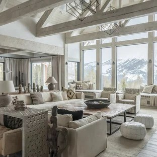 75 Rustic Living Room Design Ideas   Stylish Rustic Living Room     Mountain style formal and open concept light wood floor and gray floor living  room photo in