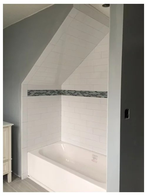 shower curtain on sloped wall