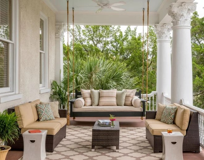 Transitional Porch by Allison Ramsey Architects