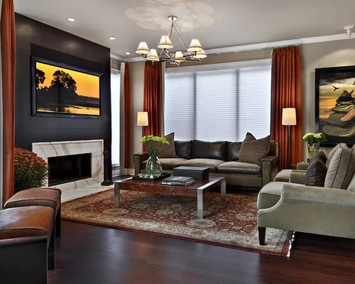 The living room is one of the most important areas in your house for a great hosting experience. Rust Curtains   Houzz