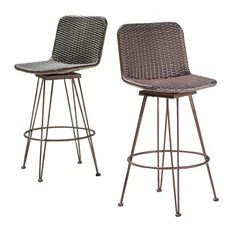 50 Most Popular Outdoor Bar Stools for 2018   Houzz GDFStudio   Pines Outdoor Wicker Barstools With Black Brush Copper Iron  Frame  Set of 2