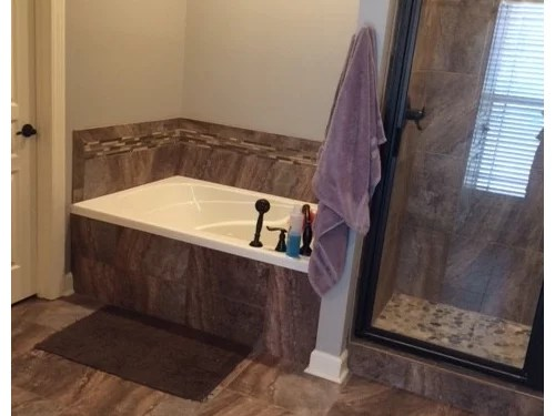 need help covering busy master bath tile