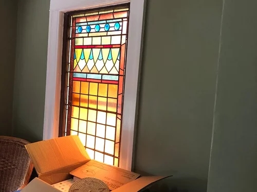 Colors To Complement Stained Glass Window In Staircase   Staircase Window Glass Design   Geometric   Architecture   Flower   Residential   Glass Brick