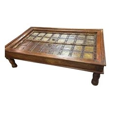 Mogul interior - Consigned Coffee Table Indian Furniture Handmade Wood Carving - Indian coffee table with brass accent and hand carved furniture. carving wood, brass hardware. Amazing, Unique one of the kind table!