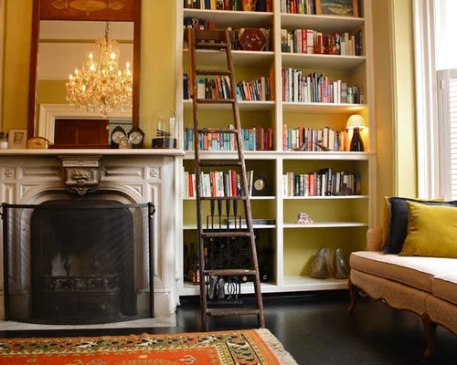 Bookcase Next To Fireplace Home Design Ideas, Pictures