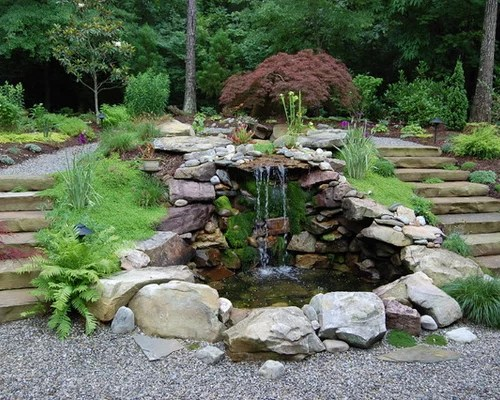 Best Front Yard Waterfall Design Ideas & Remodel Pictures ... on Front Yard Waterfall Ideas id=29329