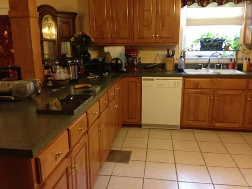 dark grey floors, blue butterfly granite, maple cabinets ... on What Color Granite Goes With Maple Cabinets  id=75118