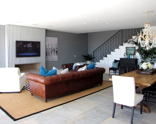 Brown Couch Gray Walls Photos