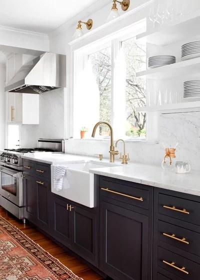 Transitional Kitchen by Elizabeth Lawson Design